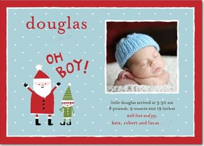SWEET CHRISTMAS BABY ANNOUNCEMENTS - FESTIVE HOLIDAY BABY BIRTH ANNOUNCEMENTS