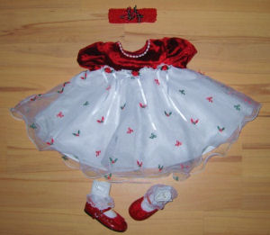christmas dress santa girl baby bonnie baby bow tights white red green