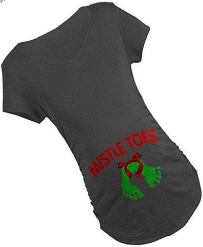 Christmas maternity shirt mistletoes mistle toes baby footprint footprints holiday t shirt