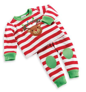 Gender neutral unisex Mud Pie Newborn Baby Rudolph the Red Nosed Reindeer long johns style Christmas pajamas