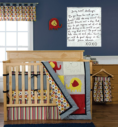 Vintage circus train baby nursery crib bedding set with elephants, giraffes, monkeys and other animals riding in a circus train