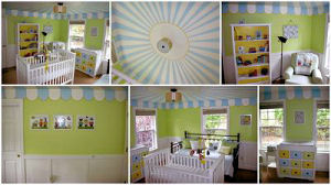 Blue green yellow and white baby boy circus nursery room theme
