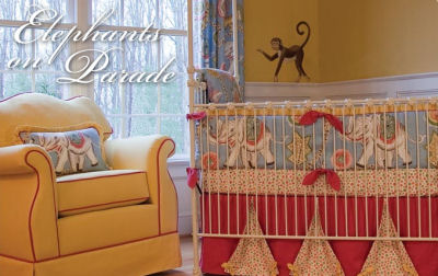 Red and Yellow Vintage Circus Elephant Baby Nursery Theme