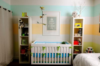 Aqua Blue, Yellow and White Striped Baby Nursery Wall Painting Technique