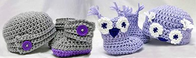 Patterns for classic baby booties boots with buttons and matching hats