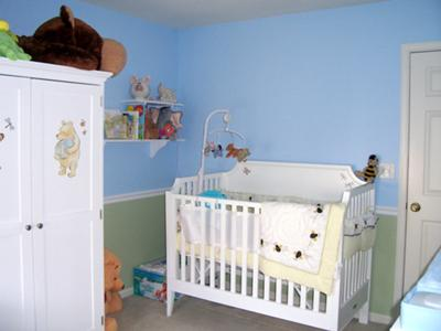 Classic Pooh Nursery Decor - Our Dream Come True Baby Armoire and Crib