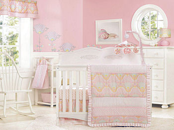 Discontinued closeout baby crib bedding set for a baby girl nursery