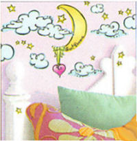 baby nursery cloud wall mural stencil decals stickers