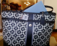 coach black and white signature logo baby maternity bag diaper