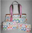 new coach diaper bag baby spring summer pastel scribble signature