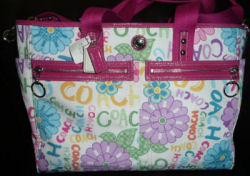 pink and cream white chelsea coach baby maternity bag diaper