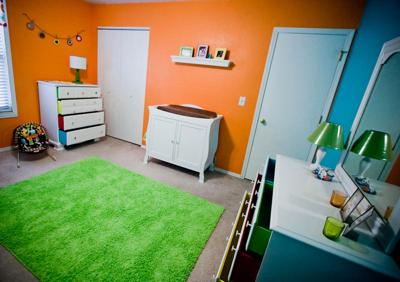 Colorful Bright and Bold Baby Nursery in Aqua Blue, Lime Green and Orange!