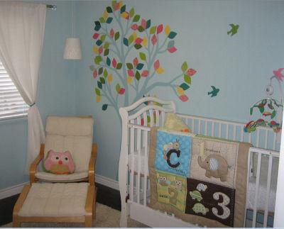 Piper's Colorful Baby Bird Nursery Tree Mural