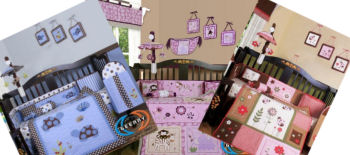 Colorful and bright crib bedding sets for the baby's nursery room