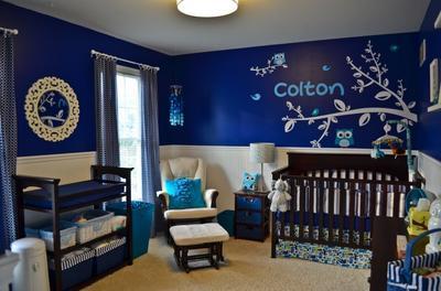 A navy blue owl nursery theme for a baby boy.