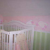 Pink and Green lamb theme baby girl nursery room decor