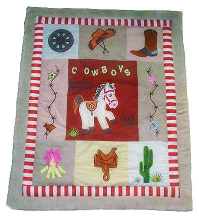 Western cowboy horse patchwork baby crib quilt with appliqués boots cactus saddle campfire ranch