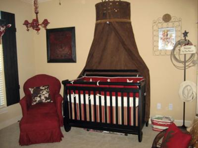 Red and chocolate brown western cowboy baby nursery theme with stars and stripes crib bedding set and canopy