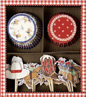 Western cowboy theme cupcake toppers including cowboys, cowboy hats and horses with red and blue bandana print liners