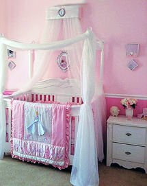 Custom baby girl Disney princess crib canopy and netting on a four post baby bed