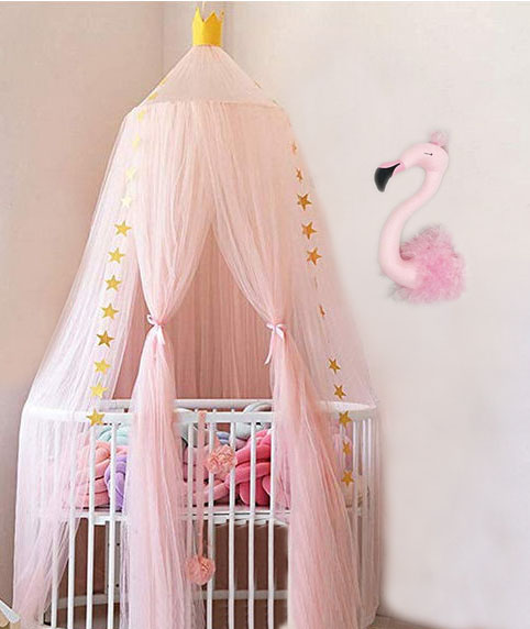 DIY crib canopy teepee in a baby girl pink stars princess nursery