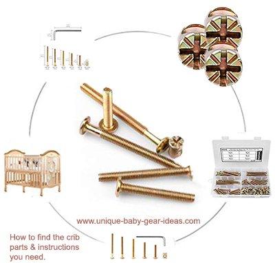 baby crib parts diagram screws barrel bolts