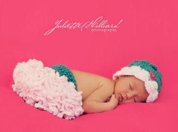 Ruffled newborn baby girl tutu diaper cover and infant flower headband set crochet pattern with dainty crocheted petals