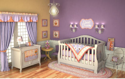 Pink lavender and purple baby girl nursery crib bedding set in a sweet cupcake theme with crib quilt, curtains and decor