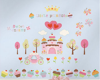 Baby girl fairy cupcake wall decals with a princess crown, carriage, trees hearts, butterflies and flowers