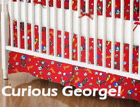 Curious George baby bedding set for a storybook theme monkey nursery room for a baby boy