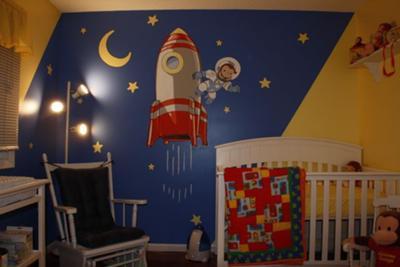 Curious George The Astronaut Nursery Wall Mural Hand Painted Art!