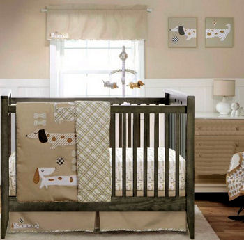 Cute decorated dachshund puppy dog sports combination baby nursery theme decorated in neutral colors