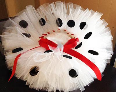 Dalmatian tutu for a Cruella DeVille mom and baby costume.