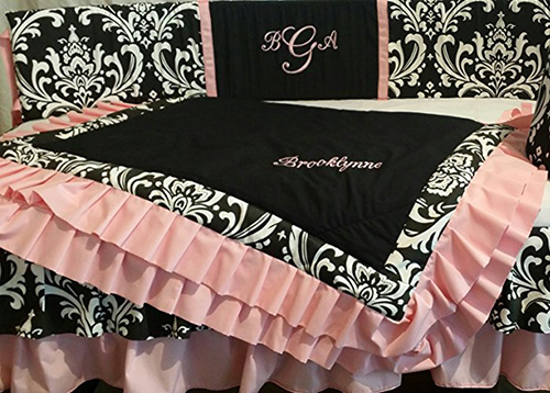 damask baby bedding nursery black white hot pink pictures