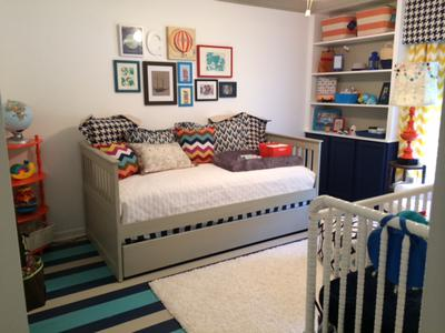 Our baby boy's nursery room was decorated using a combination of patterns including chevron, houndstooth and more!
