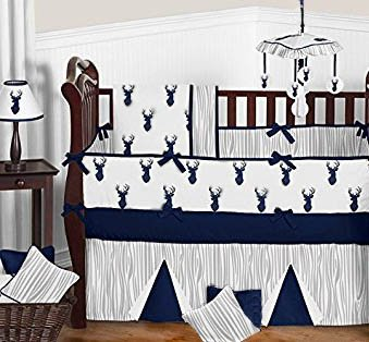 Whitetail deer white tail deer forest hunting theme baby nursery crib bedding nursery set blue black white