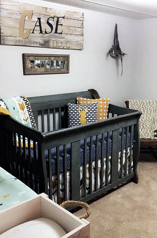 Rustic deer hunting baby crib bedding set baby boy nursery room decor