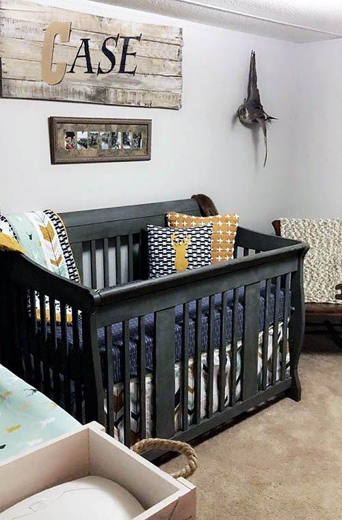 Rustic deer hunting baby crib bedding set baby boy nursery room decor