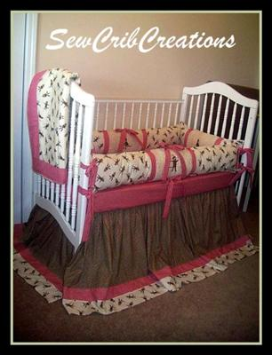Deluxe Sock Monkey Custom Baby Crib Bedding with Appliqued Crib Quilt, Sock Monkey and red and white gingham check fabric border