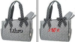 boy baby bags diaper personalized monogrammed monogram initials black gingham polka dots