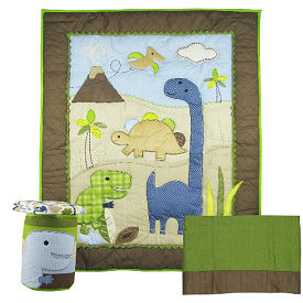 Baby dinosaur crib bedding nursery set for a baby boy or girl in green blue and brown