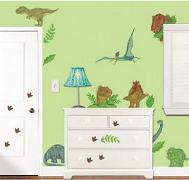 Prehistoric dinosaur baby nursery theme wall decor ideas