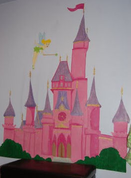 tinkerbell disney baby nursery theme cinderella castle pink baby girl