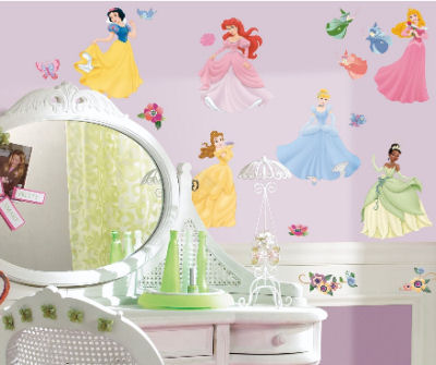 Disney Princess wall stickers and decals with faux gems for a baby girl nursery room