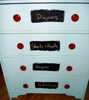 DIY painted ladybug baby dresser ideas for a boy nursery