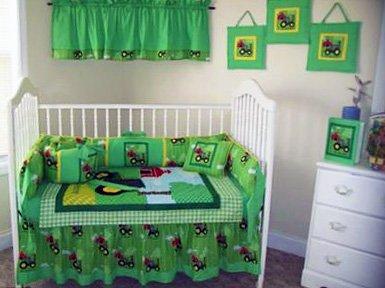 Homemade custom Down on the Farm John Deere crib bedding set in green yellow for a boy or girl
