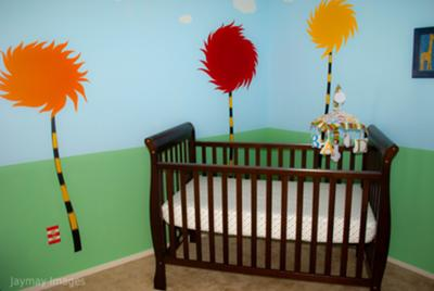 Dr. Seuss Truffula Trees Nursery Wall Decals and Painting Technique