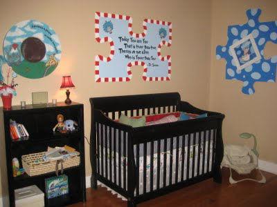 Homemade Dr. Seuss baby nursery wall art