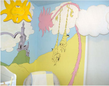 dr seuss wall stickers art decorations pastel clouds mural