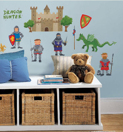 Baby dragon nursery wall mural created with vinyl wall decals, stickers and decorations featuring medieval castles and knights in armor